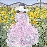 Yunbai Lolita Douce Japonaise sœur Douce Soeur Lolita Chat Taille Haute Maille Manches Courtes Robe Robe Kawaii Fille été (Color : Pink, Size : Small)