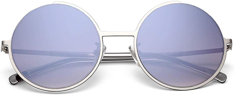 Sunglasses Female Glasses Gradient color Round Frame Fashion Sunglasses Female (color   Silver, Size   55mm64mm)