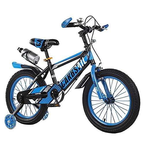 MIAOYO Bicicleta Segura para Niños,Bicicleta Infantil con Ruedas Auxiliares Flash,Bicicletas Al Aire Libre para El Bebé Chicos Chicas,Bicicleta De Carretera con Asiento Ajustable Portavas,Azul,18'