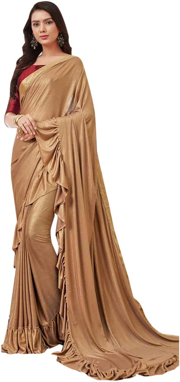Deep gold Indian Ethnic Designer Saree Ruffle Border Multifabric Sari with Blouse piece Women Party wear 7770