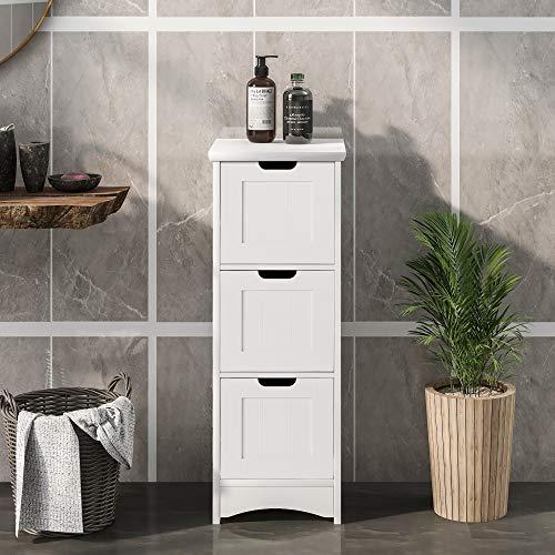 ATNR Armadietto da bagno in legno con 3 cassetti, ante regolabile, per soggiorno, cucina, corridoio, profondo, autoportante, bianco (3 cassetti)