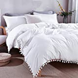 Andency Pom Pom Fringe Duvet Cover Full Size (79x90 Inch), 3 Pieces (1 Solid White Duvet Cover, 2 Pillowcases) Soft Washed Microfiber Duvet Cover Set with Zipper Closure, Corner Ties