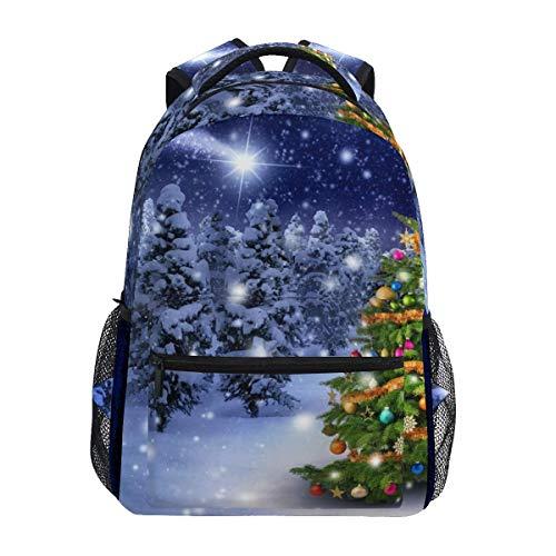 NA Schulrucksack Weihnachtsbaum in verschneiter Nacht Büchertasche für Jungen Mädchen Grundschule Freizeit Reisetasche Computer Laptop Daypack