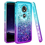 Ruky Moto G6 Play Case, Colorful Quicksand Series Bling Diamond Flowing Liquid Floating Soft TPU Women Girls Phone Case for Motorola Moto G6 Play Moto G6 Forge (Teal Purple)