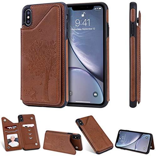 Dclbo Hülle für iPhone XS Max, Handyhülle Leder Handytasche Schutzhülle Case Cover Tasche mit Kartenfach Standfunktion Brieftasche Stoßfest Lederhülle für iPhone XS Max-Braun