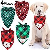 4 Pañuelos de Perro de Papá Noel de Navidad Bufanda Triángulo Mascotas de Tartán Copo de Nieve Babero Ajustable Lavable de Perros para Disfraces de Mascotas Gato Perro en Invierno Navidad