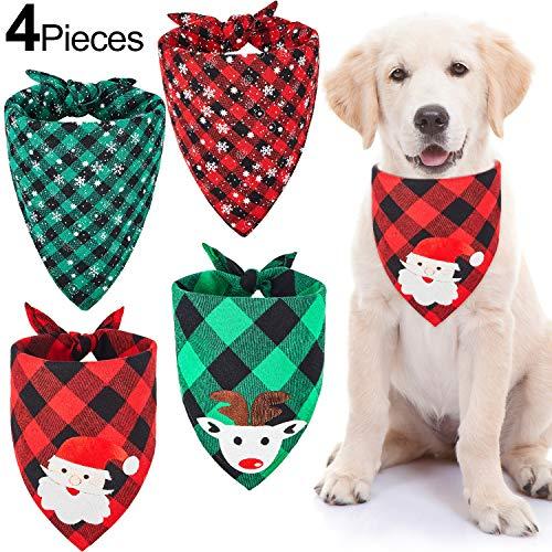 4 Pañuelos de Perro de Papá Noel de Navidad Bufanda Triángulo Mascotas de Tartán Copo de Nieve Babero Ajustable...