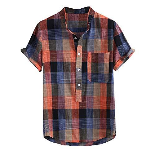 Camisas de Manga Corta para Hombres Camisa de cáñamo de algodón a Cuadros Top Informal con Bolsillo, Cuello Alto Medio botón Ropa Holgada Transpirable para el Ocio