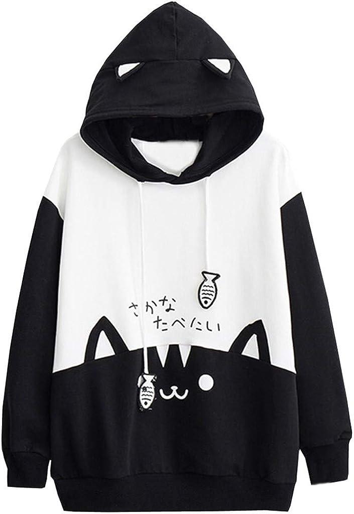 Women's Teen Girls Dinosaur Hoodie,Cute Emo Dinosaur Hooded Sweatershirt Pullover Long Sleeve Jumper Blouse Casual Top