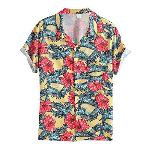 Why Choose Funky Hawaiian Shirt Hombres Shortsleeve Fashion Print Leaves Flowers Allover Tee