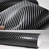 Poweka 4D Vinilo Fibra de Carbono Envoltura Adhesiva Negro para Coche...