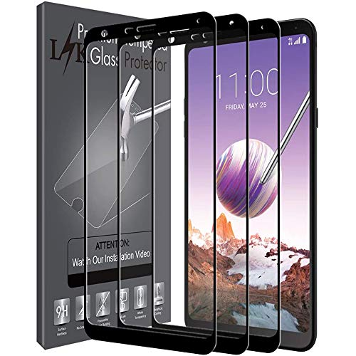 3 Pack LK Screen Protector Compatible With LG Stylo 4, Full Cover Tempered Glass 9H Hardness (Black)