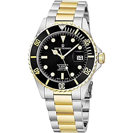 Fashion Shopping Revue Thommen Mens Diver Watch Automatic Sapphire Crystal – Analog Black Face Two Tone Metal Band Stainless Steel Dive…