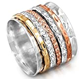 Boho-Magic Spinner Ring for Women 925 Sterling Silver with Copper and Brass Fidget Bands Wide