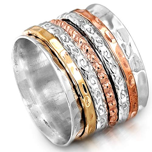 Boho-Magic Spinner Ring for Women 925 Sterling Silver with Copper and Brass...
