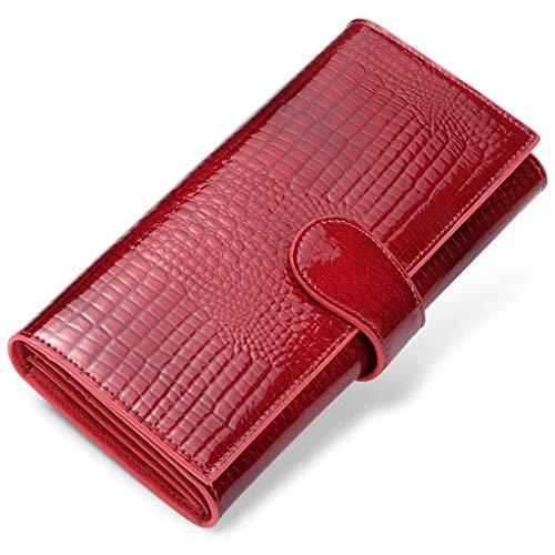 JEEBURYEE Monedero Mujer Cartera de Cuero Genuino Grande Larga Billetero Organizador Tarjeteros para Tarjetas de Credito con protección RFID Rojo