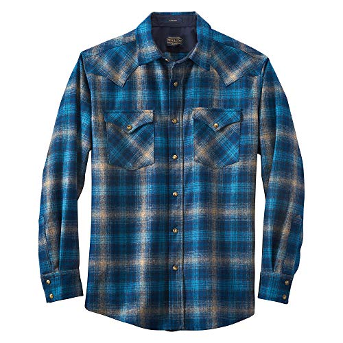 Pendleton, Men's Long Sleeve Button-Front Tall Canyon Shirt, Taupe/Blue/Navy Ombre, XX-Large