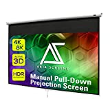 Akia Screens 100 inch Projector Screen Pull Down Manual B 16:9 8K 4K HD 3D Ceiling Wall Mount White Portable Projection Screen Retractable Auto Locking for Indoor Movie Home Theater Office AK-M100H1