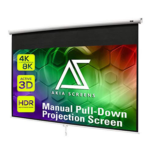 Akia Screens 110 inch Pull Down Projector Screen Manual B 16:9 8K 4K HD 3D Ceiling Wall Mount White Portable Projection Screen Retractable Auto Locking for Indoor Movie Home Theater Office AK-M110H1