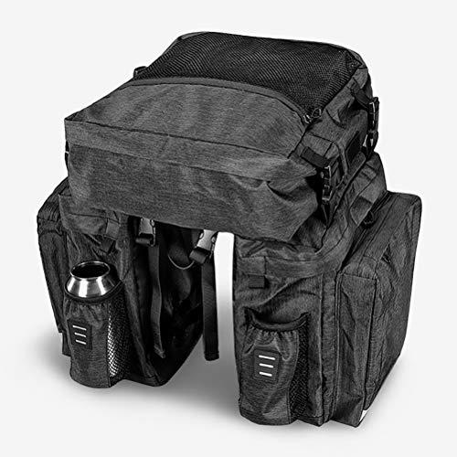 XYZLEO Fahrradtasche Wasserdicht Fahrradtaschen Rahmen 37L Groß 3 in 1 Mehrzweck Abnehmbar Satteltasche VerschleißFest Antifouling Einfach Zu SäUbern GepäCkträGertasche,Grau