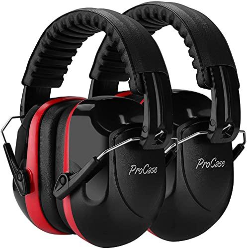 ProCase 2 uds. Casco Antiruido, Protector Auditivo SNR 34 dB Aislante de Ruido Profesional, Casco Insonorizado Protector de Oído para Campo de Disparo, Caza -Rood