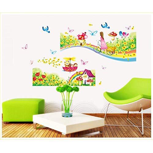 ZYBKOG Wandaufkleber Regenbogen Straße Wandaufkleber Für Kinderzimmer Kinderzimmer Wanddekorationen Kind Dekor Poster Prinzessin Wandtatt