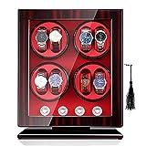 ANTLSZH Reloj Winder, con Almohadas De Reloj Flexibles, Concha De Madera, Alimentado por Motor Japonés, Led Incorporado Iluminado, Cable De Alimentación