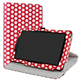 Sprint Slate 8 Case,LiuShan 360 Degree Rotation Stand PU Leather with Cute Pattern Cover for 8' Sprint Slate 8 (AQT80) Tablet,Polkadot Red