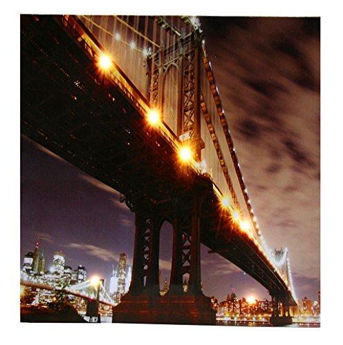 LED Wandbild New York Manhatten Bridge - Leinwandbild 50x50cm mit 6 LEDs - Brücke Beleuchtung Dekoration Amerika USA Licht