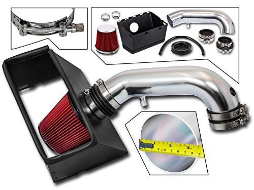Cold Air Intake System with Heat Shield Kit + Filter Combo RED Compatible For 09-18 Dodge Ram 1500/09-18 Dodge Ram 2500/09-18 Dodge Ram 3500 HEMI 5.7L V8 / 2019 Ram 1500 Classic 5.7L