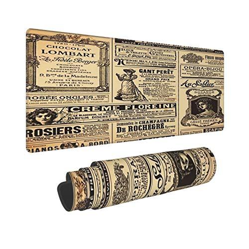 YOLIKA Extra Grande Alfombrilla de Ratón con Bordes Cosidos,L-80 x 30 x 0.3cm,Fondo de periódico Envejecido Vintage,Alfombrilla de Escritorio para el Trabajo Juego Computadora Portátil
