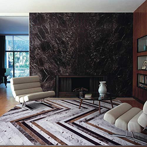 Taleta Herringbone Teppich Rindleder kunstfell Verbindung Wohnzimmer Braun Grau Schwarz Größe: 160x230cm