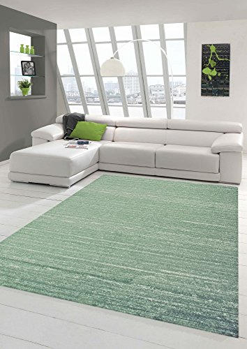Traum Designer und Moderner Teppich Wohnzimmerteppich Kurzflor Uni Design in Grün Größe 80x150 cm