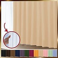 窓美人 1級遮光カーテン&UV・遮像レースカーテン 各1枚 幅150×丈135cm 幅150×丈133cm クリームベージュ リュミエール 断熱 遮熱 防音 紫外線カット