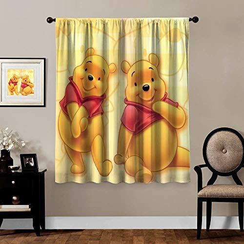 Victoria Anime Blackout Curtains,Winnie The Pooh Bear (1), Rod Pocket Thermal Insulated Darkening Window Drapes for Bedroom, Cute Animal Boys Girls Room Décor, 2 Panels,63x63 inch