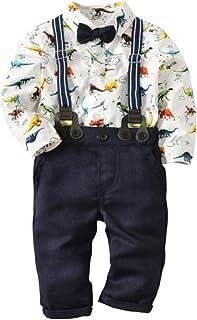 Weixinbuy Newborn Baby Boys Gentleman Clothes Set Button up Cotton Romper + Suspender Pants