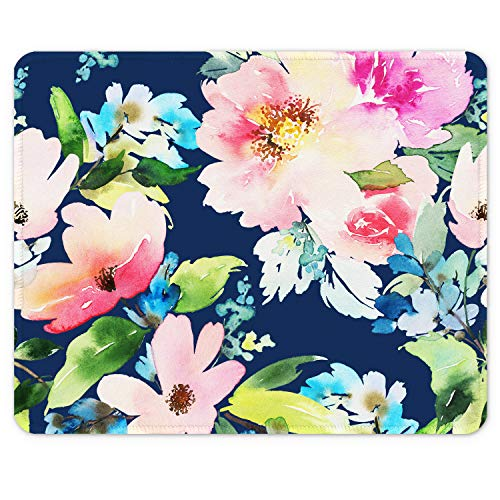 Auhoahsil Mouse Pad, Square Floral Design Anti-Slip Rubber Mousepad with Stitched Edges for Gaming Office Laptop Computer PC Women Men Kids, Pretty Custom Pattern, 9.8 x 7.9 in, Blue Daffodil Flowers