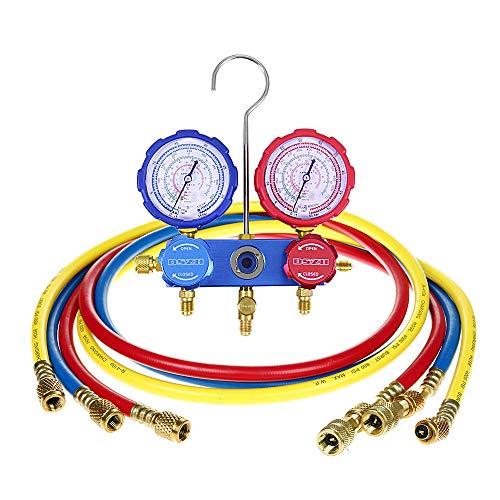 Flexzion Ac refrigerante del colector de medidores, Ventilación Aire acondicionado de carga herramienta de diagnóstico halógena de conjunto de servicios Psi Kit Para R22 R410A R404A con tres 60' Mang