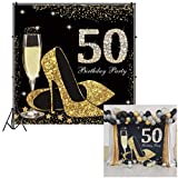 CSFOTO 8x8ft Happy 50th Birthday Backdrop Crystal High Heels Shoes Champagne Glitter Diamond Black Gold 50th Birthday Banner Background Women Bday Background