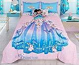 Primor Casa Soy Princesa Princess Dress Reversible Comforter Set for Girls, 3 Pieces Bedding, Pink Blue, Rich Cotton (Full Size)