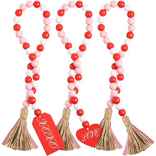 3 Pieces Valentine's Day Wood Bead Garland with Rustic Tassels Farmhouse Rustic Beads with Heart Shaped Wooden Tag Plaid Tassel Tray Beads Decorations for Wedding Valentine's Day Home Decor Ornaments
