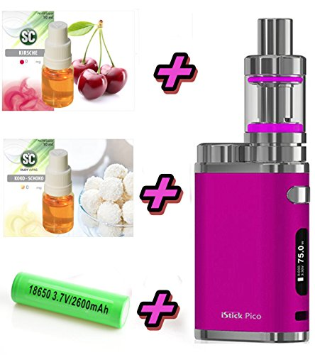 iStick PICO Starter Kit XXL Set Pink | Elektro Zigarette Set | mit SC Liquids – Stick 75 W TC – Hochwertiges Geschenk-Set 00mg Rauchen ohne Nikotin