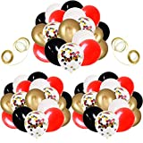 62 Pack Black White Red Chrome Gold Confetti Balloons for Graduation Casino Card Night Poker Las Vegas Wedding Birthday Party Decorations