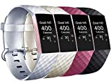AK pour Fitbit Charge 3 Bracelet, Remplacement Réglable Sport Bracelets pour Fitbit Charge 3 (4-Pack Gold+Silver+Black+Wine Red,...