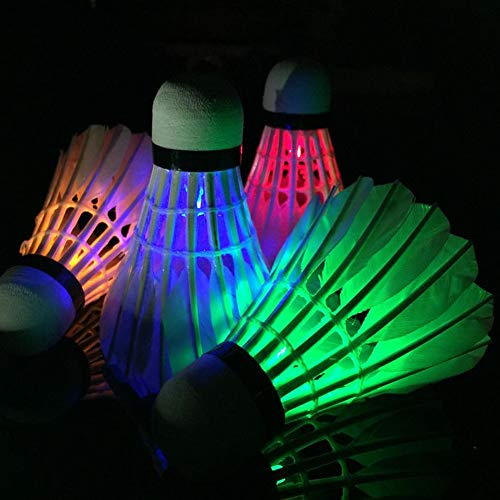 SDYDAY 4er-Pack LED-Badminton-Bälle mit LED-Badminton-Bälle, für Sport und Training, Dunkle Nachtleuchten, Birdies Beleuchtung für Outdoor-Aktivitäten und Indoor-Aktivitäten