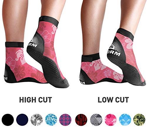 BPS 'Storm' Lycra Sports Socks - Sand Skins for Outdoor Volleyball, Surfing, Dive Boots, Canoeing, Snorkeling, Beach Soccer - for Men and Women - Low Cut Socks (Pink Floral, Small)