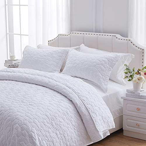 NexHome Quilt Set King White Blue Queen Quilt Set Soft Lightweight Quilted Bedspread for All Season Gray Twin Quilt Set 3 Piece Quilt Set with Shams (White, Full/Queen(9096inches))