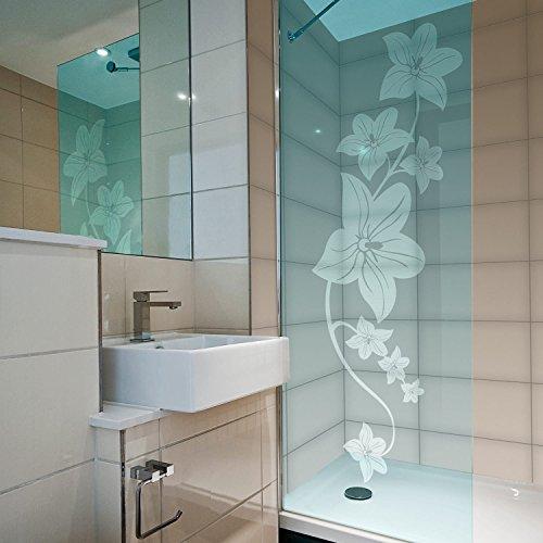 atFoliX Glasdekorfolie Hawaiiblume 3 teilig Strukturfolie Edelstahl gebürstet FX-Sticker Sichtschutz Aufkleber