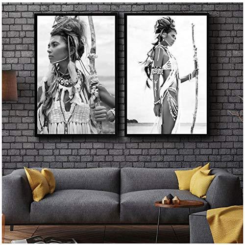 YK-GVOR Cuadro 1 Pieza Pintura sobre Lienzo Cuadros modulares Arte de la Pared Mujer Desnuda Africana Diadema India Retrato Cartel HD Impresiones Decoraci/ón para el hogar para el Dormitorio