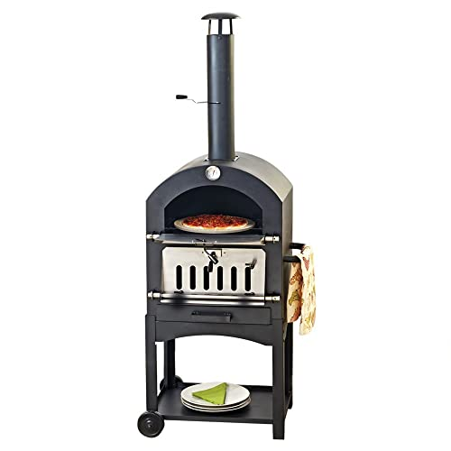 Clifford James Pizza Oven Wood-Fired Smoker & BBQ for Outdoor Garden, Lawn, Decking & Patio (Pizza Oven)